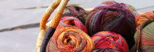 Beautiful yarn products in a basket