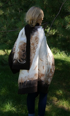 hand felted fashion wrap in brown, white and black
