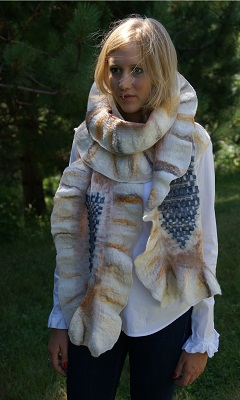 hand felted fashion scarf wrap